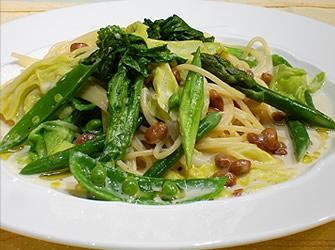 春野菜と納豆のパスタ