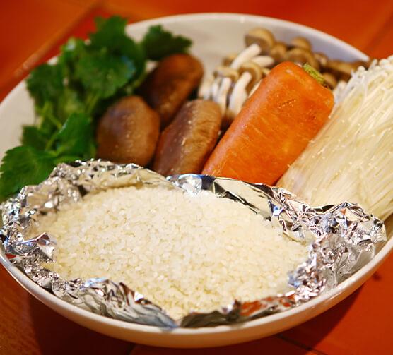 キノコの炊き込みご飯の材料