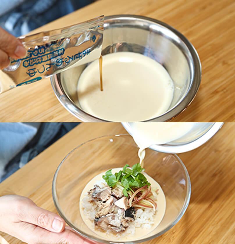 まぜるめんつゆと豆乳をボウルでよく混ぜ合わせ①に注ぎ、白ごまと黒胡椒をふり入れ混ぜながらいただく。熱いごはんでも冷たいご飯でも美味しく召し上がれます。黒こしょうのアクセントがまぜるめんつゆの本場長崎仕込み冷やし ちゃんぽん風をより美味しく味を引き立てます。さば水煮缶をツナに変えたり、きゅうりの塩もみを加えても。