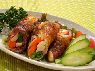 牛肉の野菜巻き ゆず胡椒風味