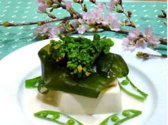 桜鯛と豆腐のワカメ蒸し