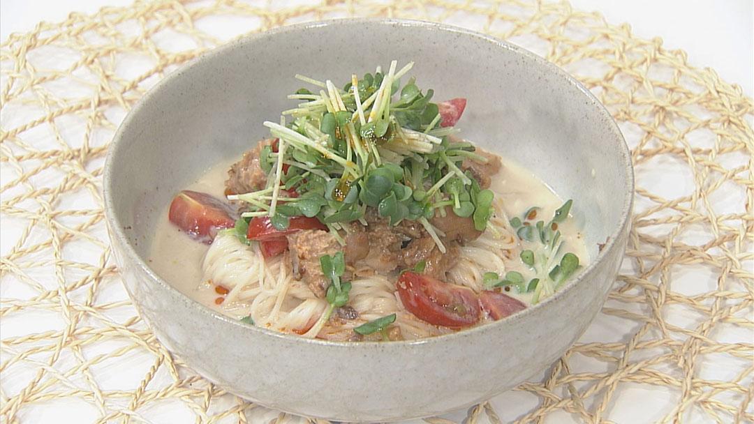 鯖缶とそうめんのヘルシー坦々麺